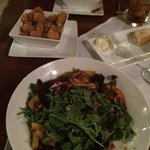 Goat cheese and beet salad with shrimp, tots with Parmesan and truffle oil and Mac & Cheese with