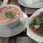 "Seafood tom yam & morning glory (what malaysians term as ""kangkong"")"