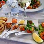 Calamari, scallop and chili shrimp taster menu!