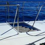 ladder raised during sailing