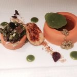 Pumpkin panna cotta, tomato biscuit, olive caviar