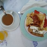 Omelette with Feta cheese and fresh Tomato