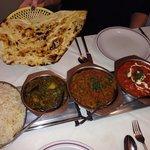 Egg fried rice vegetable side dish keema & pea bhuna & tandoori masala with naan all delicious