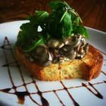 Goats cheese and mushroom on toasted Brioche starter
