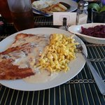 Jaeger Schnitzel with Mushroom Sauce, Spaetzle and Red Cabbage