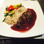 This was the elk tenderloin with mushroom risotto.  Excellent.  The elk was perfectly prepared a