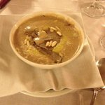 White bean soup with pine nuts and truffles