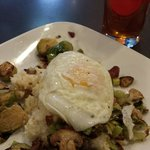 Oh yes brussel sprouts, grits, leeks, and shrooms do go together!