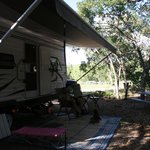 Our campsite in a cozy hollow of oak trees (east end)