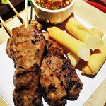 grill pork with stick rice spring roll and dipping sauce