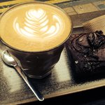 Latte and salted caramel brownie, delicious.