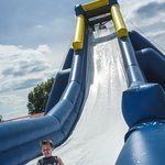 A look at the 35' Hippo Slide, the world's largest inflatable water slide.