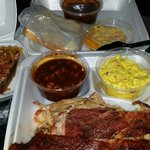 2 meat special ribs, pulled pork, pototoe salad, ranch style beans, bread, and pecan pie