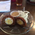 Scotch egg made with chorizo. Guinness mustard on the side.