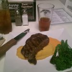 The weekly special - Cumin dusted strip steak, butternut squash puree, Fresno sauce, and brocoli