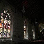 Beautiful stained glass windows inside. Perfect when in late afternoon watching the sun come thr
