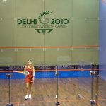 A player in the squash court.