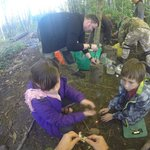 kids at the fire making course