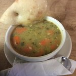Chick curry soup with focacia bread