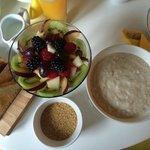 porridge with Linda's own fresh fruit salad