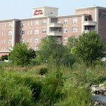 Hampton Inn from Mill River Park