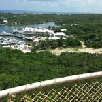 View from the lighthouse looking down at Hopetown Inn and Marina