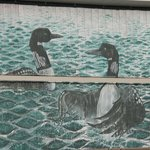 Jason Lucas portrait of Loons on one of the buildings in Thompson that we saw while statying at