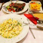 Yummy pasta and steak cooked to perfection