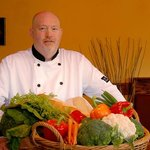 Chef Derrick with some of the fresh produce we use at Chef's Menu.