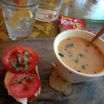 Bruschetta and Shrimp Soup