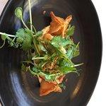 fried tiger prawns, barramundi & prawn wonton, herb & crisp shallot salad