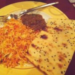 Pilau Rice, Naan and North Indian style mutton (medium spicy)