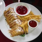 Monte Cristo sandwich, soooo GOOD!  Just melts in your mouth, YUM!!!