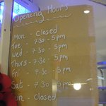 Opening time of the Bridge Bakehouse
