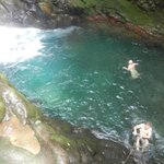 swimming at the bottom of the falls