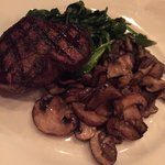 Filet with spinach and wild mushrooms - prepared perfectly.