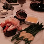 Filet topped with crab, asparagus and a grilled vidalia onion - excellent.