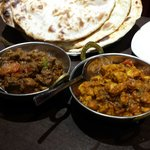 lamb and chicken dishes with Naan