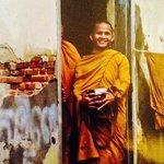 welcoming monk at wat