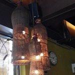 Bubu Rattan fish trap lamps hung from the ceiling - Bumbu Bali