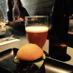 Mini pulled beef burger & ale