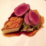 Roast venison loin. Dauphinois potato.  Red braised cabbage. Brussel sprouts w smoked bacon. Exc