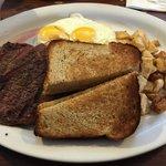 Steak and eggs on Sunday brunch.