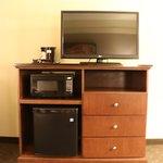 Living room facilities - fridge, microwave & TV