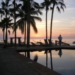 Pool area at sunrise