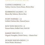 In-room canine doggie menu