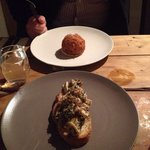 Starters - haddock scotch egg and mushroom on toast - delicious