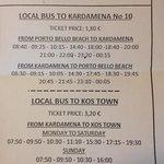 Bus time table to kardamena .