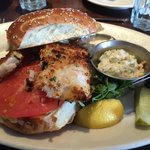 Dill-crusted walleye sandwich