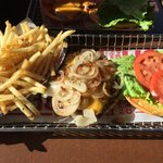 Regular cheeseburger with grilled onions and fries